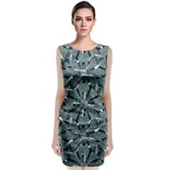 Modern Oriental Ornate Pattern Classic Sleeveless Midi Dress