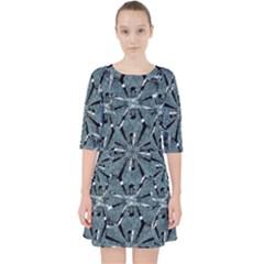 Modern Oriental Ornate Pattern Pocket Dress