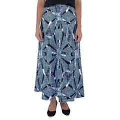 Modern Oriental Ornate Pattern Flared Maxi Skirt