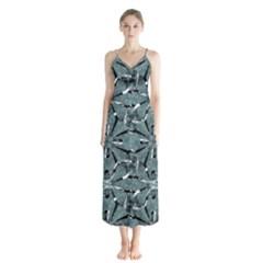 Modern Oriental Ornate Pattern Button Up Chiffon Maxi Dress