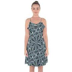 Modern Oriental Ornate Pattern Ruffle Detail Chiffon Dress