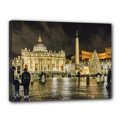 Saint Peters Basilica Winter Night Scene, Rome, Italy Canvas 16  X 12