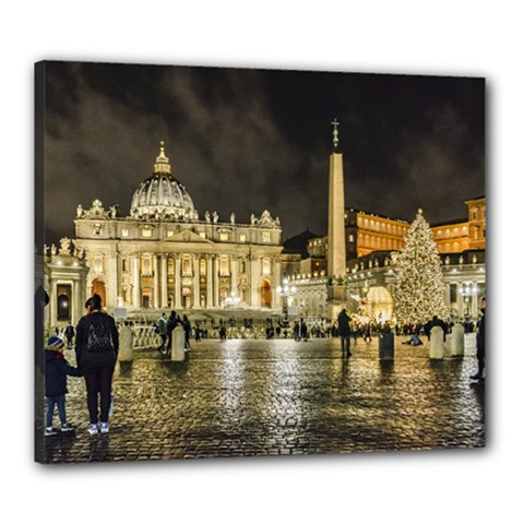 Saint Peters Basilica Winter Night Scene, Rome, Italy Canvas 24  X 20