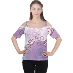 Wonderful Soft Violet Roses With Hearts Cutout Shoulder Tee