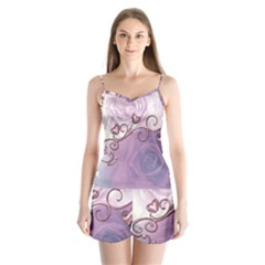 Wonderful Soft Violet Roses With Hearts Satin Pajamas Set
