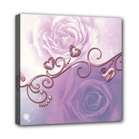 Wonderful Soft Violet Roses With Hearts Mini Canvas 8  X 8
