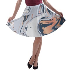 Liquid Gold And Navy Marble A Line Skater Skirt