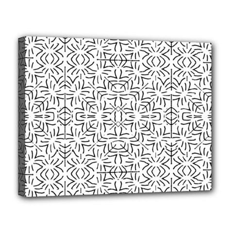 Black And White Ethnic Geometric Pattern Canvas 14  X 11