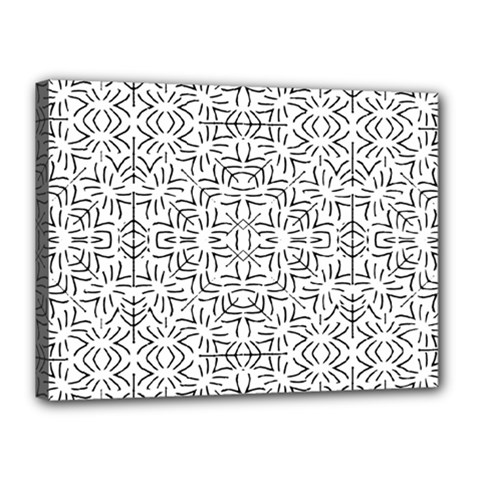 Black And White Ethnic Geometric Pattern Canvas 16  X 12