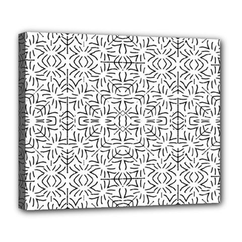 Black And White Ethnic Geometric Pattern Deluxe Canvas 24  X 20