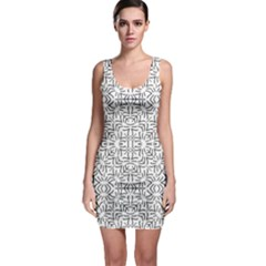 Black And White Ethnic Geometric Pattern Bodycon Dress