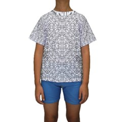 Black And White Ethnic Geometric Pattern Kids  Short Sleeve Swimwear