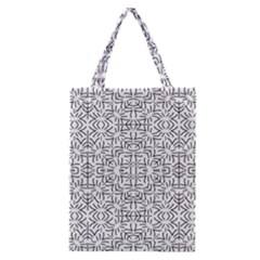 Black And White Ethnic Geometric Pattern Classic Tote Bag