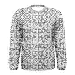 Black And White Ethnic Geometric Pattern Men s Long Sleeve Tee