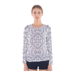 Black And White Ethnic Geometric Pattern Women s Long Sleeve Tee