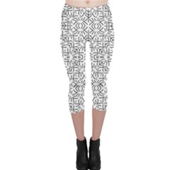Black And White Ethnic Geometric Pattern Capri Leggings