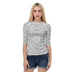 Black And White Ethnic Geometric Pattern Quarter Sleeve Raglan Tee