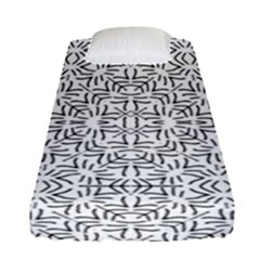Black And White Ethnic Geometric Pattern Fitted Sheet (single Size)