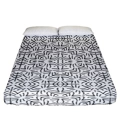 Black And White Ethnic Geometric Pattern Fitted Sheet (california King Size)