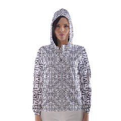Black And White Ethnic Geometric Pattern Hooded Wind Breaker (women)