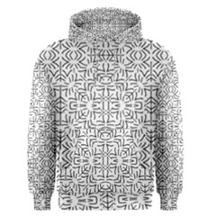 Black And White Ethnic Geometric Pattern Men s Pullover Hoodie