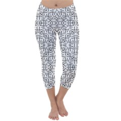 Black And White Ethnic Geometric Pattern Capri Winter Leggings