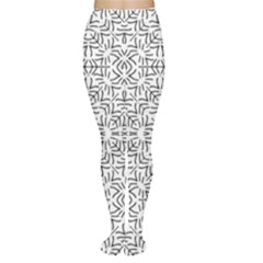 Black And White Ethnic Geometric Pattern Women s Tights