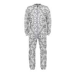 Black And White Ethnic Geometric Pattern Onepiece Jumpsuit (kids)