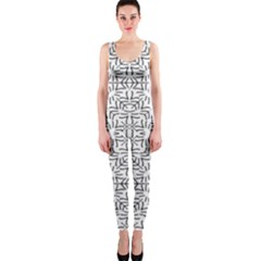 Black And White Ethnic Geometric Pattern One Piece Catsuit