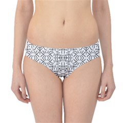 Black And White Ethnic Geometric Pattern Hipster Bikini Bottoms
