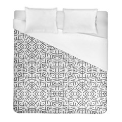 Black And White Ethnic Geometric Pattern Duvet Cover (full/ Double Size)