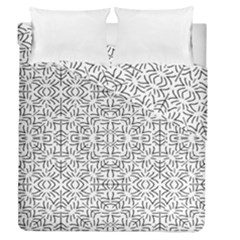 Black And White Ethnic Geometric Pattern Duvet Cover Double Side (queen Size)
