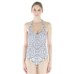 Black And White Ethnic Geometric Pattern Halter Swimsuit