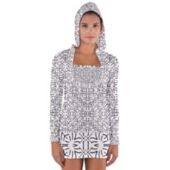 Black And White Ethnic Geometric Pattern Long Sleeve Hooded T Shirt