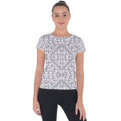 Black And White Ethnic Geometric Pattern Short Sleeve Sports Top