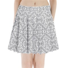 Black And White Ethnic Geometric Pattern Pleated Mini Skirt
