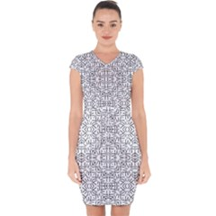 Black And White Ethnic Geometric Pattern Capsleeve Drawstring Dress