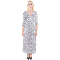 Black And White Ethnic Geometric Pattern Quarter Sleeve Wrap Maxi Dress
