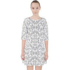 Black And White Ethnic Geometric Pattern Pocket Dress