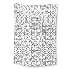 Black And White Ethnic Geometric Pattern Large Tapestry