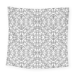 Black And White Ethnic Geometric Pattern Square Tapestry (large)