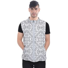 Black And White Ethnic Geometric Pattern Men s Puffer Vest