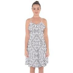 Black And White Ethnic Geometric Pattern Ruffle Detail Chiffon Dress