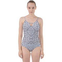 Black And White Ethnic Geometric Pattern Cut Out Top Tankini Set