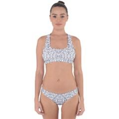 Black And White Ethnic Geometric Pattern Cross Back Hipster Bikini Set