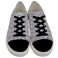 Black And White Ethnic Geometric Pattern Men s Low Top Canvas Sneakers