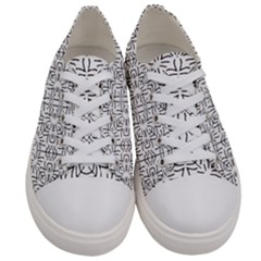 Black And White Ethnic Geometric Pattern Women s Low Top Canvas Sneakers