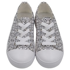 Black And White Ethnic Geometric Pattern Kids  Low Top Canvas Sneakers