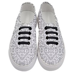 Black And White Ethnic Geometric Pattern Women s Classic Low Top Sneakers