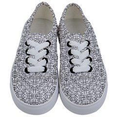 Black And White Ethnic Geometric Pattern Kids  Classic Low Top Sneakers